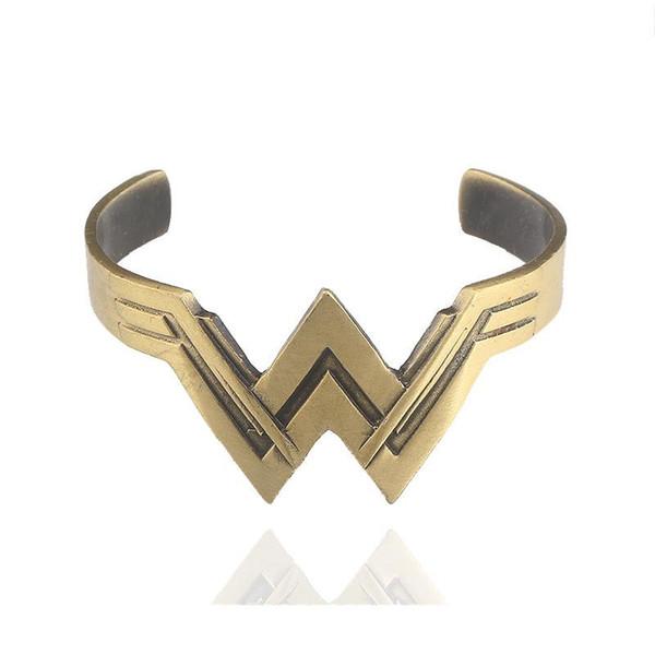 Principessa Wonder Woman Bracciale W Logo aperto Bangle Cuff Fashion Jewlery Cosplay per le donne Regalo dei bambini DROP SHIP 162363