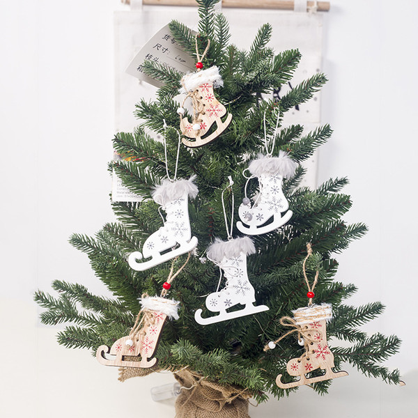 3pcs DIY Christmas Decoration Xmas Tree Wooden Hanging pendents Craft Printed Skating Shoes Small ornaments Festival Party Decor