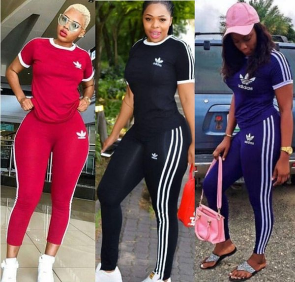 Women striped 2 piece set tracksuit running summer fall clothing t-shirt pants sportswear pullover leggings outfits tee top bodysuits 1454