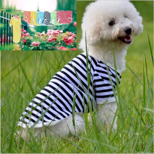 Çeşitli Çizgili Pet Köpek Küçük Köpek Kedi Pet Giyim Elbise Yelek Tişört Giyim Giyim