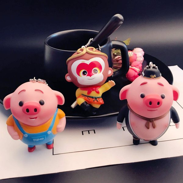 Cartoon cute piglet key chain male and female creative pig eight ring doll doll bag pendant doll machine Gift NEW