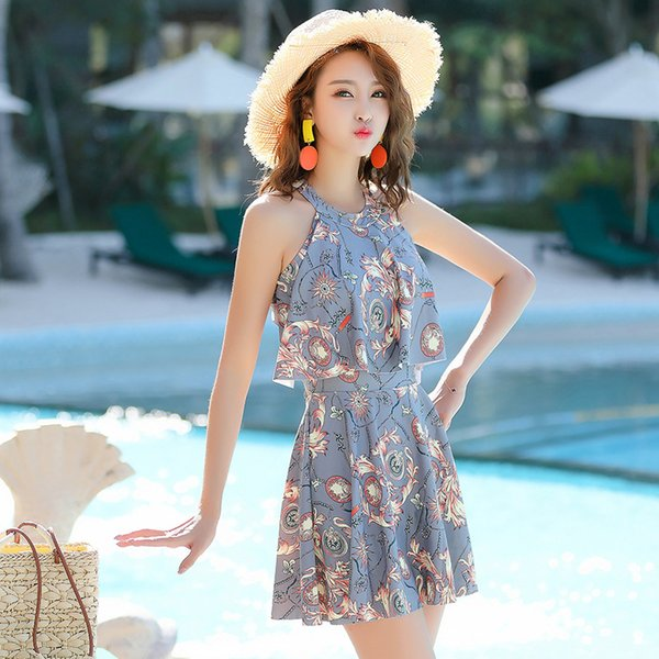 Free Shipping Hot 2019 new Korean fashion sexy one-piece swimsuit female student conservative skirt style hot spring swimsuit