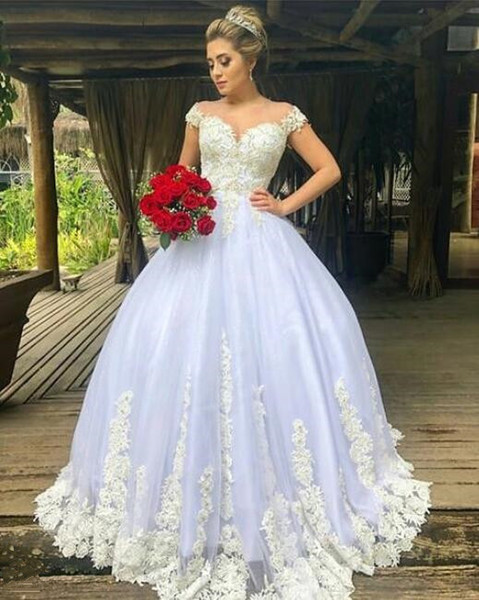2019 Arabic Luxury Wedding Dresses Bridal Gowns plus size Off Shoulder lace Appliques Ball Gown Wedding Gowns custom made Lace Up Back
