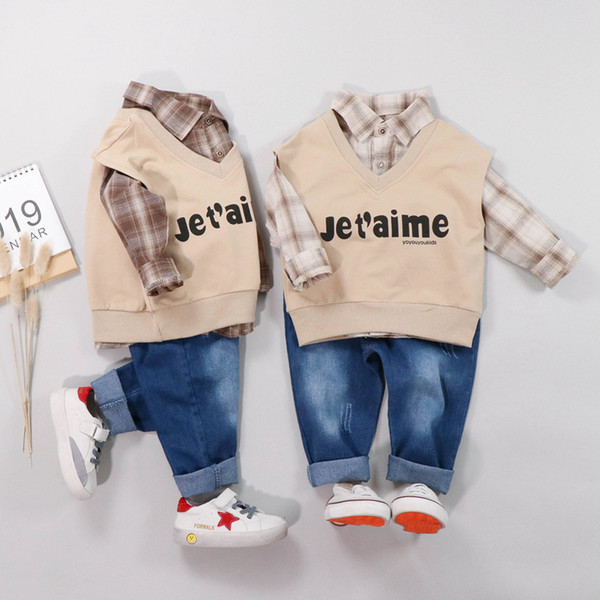Baby boys clothing sets spring autumn newborn cotton vest+shirts+pants 3pcs gentleman suits for bebe toddler fashion outfits