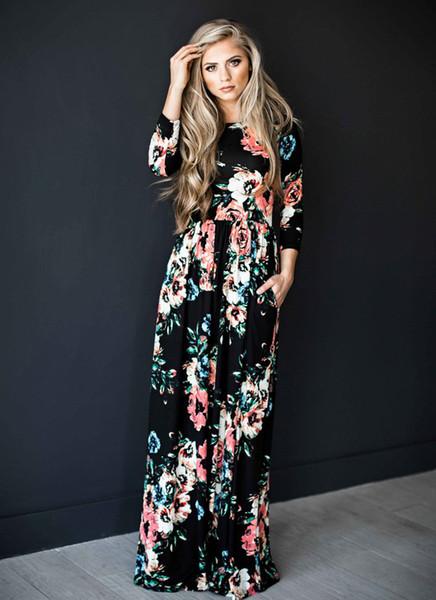 Sommer boho strand dress fashion floral bedruckte frauen langes dress three viertel sleeve lose maxi dress vestidos s-3xl