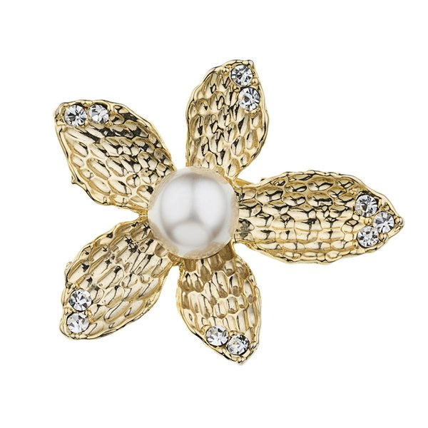 Pearl-Inlaid Five-Leaf Pearl-Inlaid Polygonal Brooch High Quality Alloy Gold Color Fashion Trend Gift For Women Girl