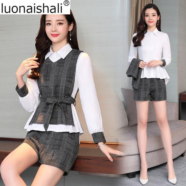 Three Pieces Women Suit Set Office Ladies Elegant Temperament Comfortable Women Suit Set Spring Plaid C041