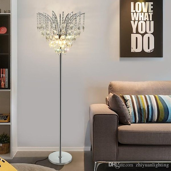 DEL Lampe de table cristal Auvent salon chambre Lecture Lampe Textile Debout Éclairage