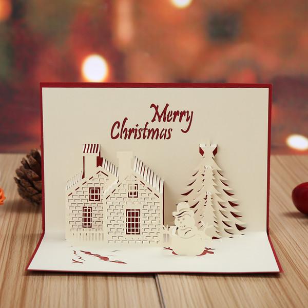Custom Christmas Cards.Christmas Cards 3d Pop Up Merry Christmas Series Handmade Custom Greeting Cards Christmas Gifts Souvenirs Postcards Animated Christmas Cards Animated
