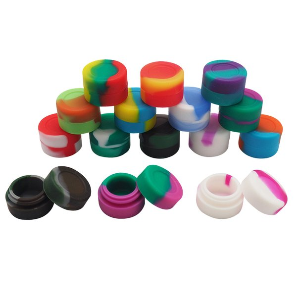 10pcs/lot 3ml mini assorted color silicone container for Dabs Round Shape Silicone Containers wax Silicone Jars