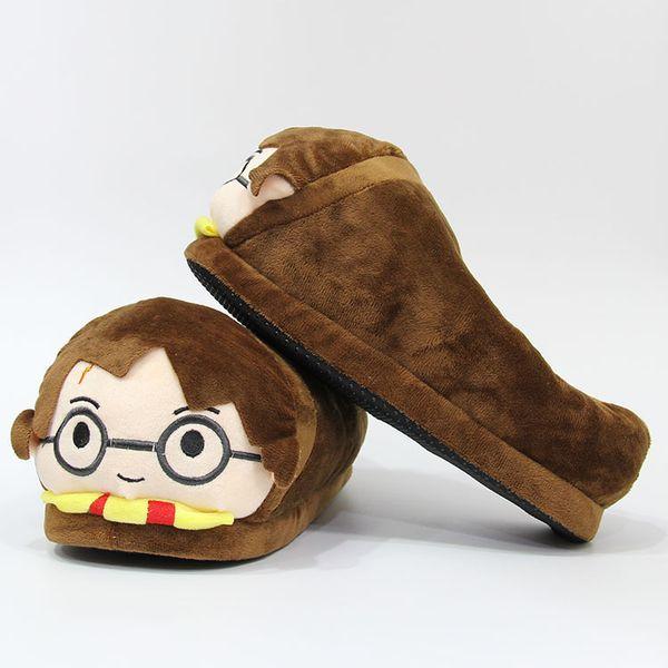 해리 포터 슬리퍼 겨울 봉제 슬리퍼 창조적 인 커플 샌들 남녀 플랫 홈 신발 만화 실내 열 신발 새로운 GGA2569