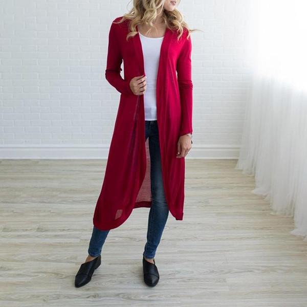 Mulheres Casaco -Plain Cor-Long Estilo Cardigan De Mangas Compridas -Tinim De Malha Cardigan De Todos Os Casacos Camisola Primavera Verão