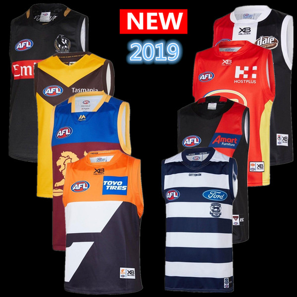 top popular Hot sales 2019 all AFL jersey geelong cats Essendon Bombers Adelaide Crows St Kilda Saints GWS Giants GUERNSEY Rugby Jerseys singlet 2020