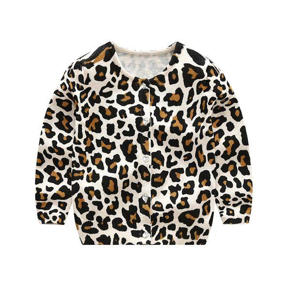 Liligirl Bebek Leopar Örme Uzun Kollu T-shirt Kazak Çocuklar Için Giysi Giymek Erkek Kız Hırka Kazak Pamuk Ceket Y190518