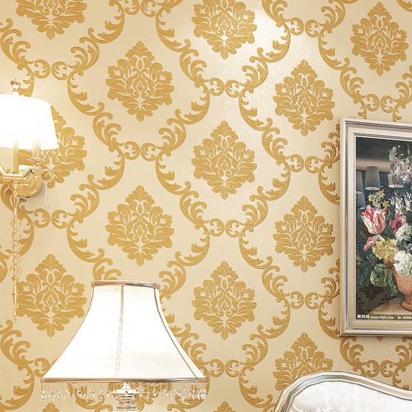 3d Style European Damascus Wallpaper Luxury Golden Floral Living Room Bedroom Tv Background Damask Wallpaper For Walls Roll