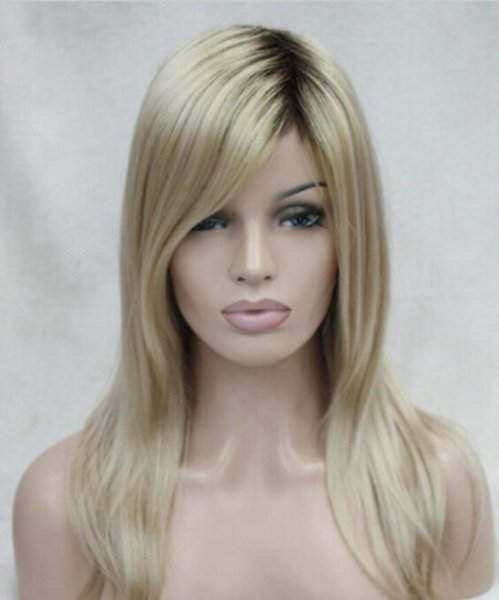 WIG new fashion wig blonde with brown root ombre long top quality hair straight wigs