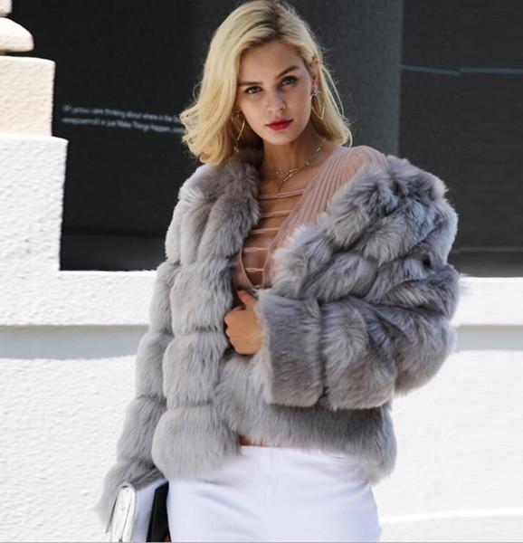 La Fausse Fourrure imitation manteau de fourrure d'hiver de femme Mode T-shirt de la femme Slim élégant Vêtement chaud 6 couleurs XXXL 666