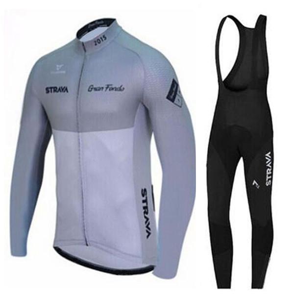 2019 Страва команда Одежда велосипед Велоспорт Джерси Длинные рукава Bib брюки наборы на открытом воздухе горы Mens велосипед Велоспорт одежды