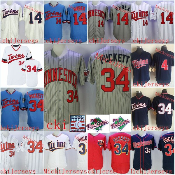 Mens Vintage 1987 #34 Kirby Puckett Jersey Stitched Blue Pullover White Pinstripe #4 Paul Molitor #14 Kent Hrbek 1991 WS patch Jersey S-3XL