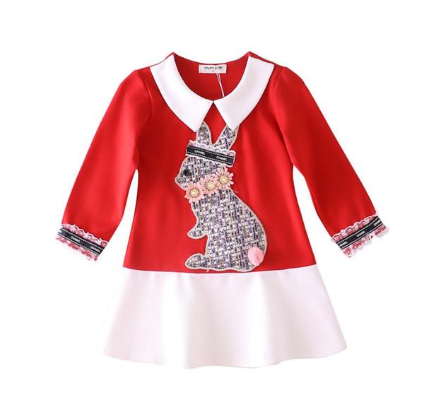 2019 automne nouvelles filles luxe robe marque nouvelles robe en coton fille couture robe en gros chemise à manches longues / capuche