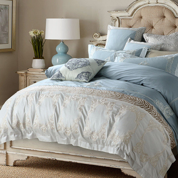 Oriental Embroidery Blue Egyptian Cotton Luxury Bedding Set Queen King size Bed set Duvet Cover Bed Sheet set Pillowcase