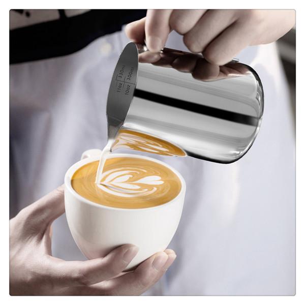 Tazza schiumosa 350ml per schiumatura a vapore per macchina per caffè espresso Montalatte e macchina per il latte Pratica vendita calda in acciaio inossidabile