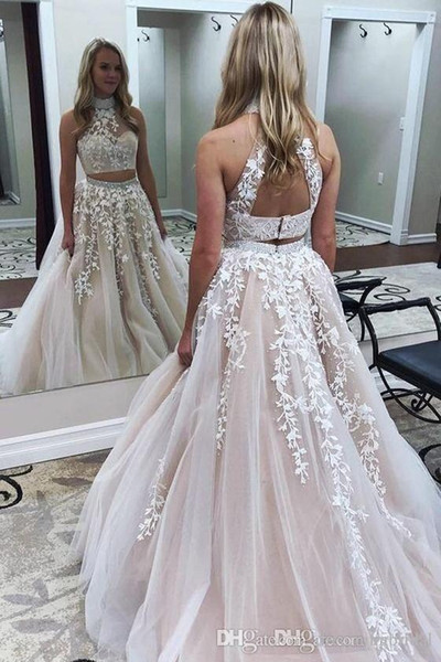 Two Piece Long Prom Dresses 2017 Sleeveless A Line Floor Length Lace Applique High Neck Formal Evening Gowns Party Dress Custom Made