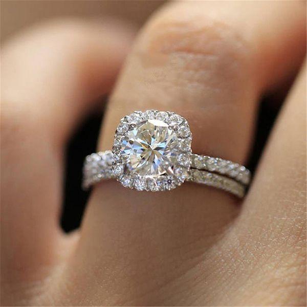 Coeur Ensemble mariage Brial bijoux anneau anneaux bagues de fiançailles clou de fiançailles Femme Charme Mode pour bague en diamant femmes 2020 vente chaude
