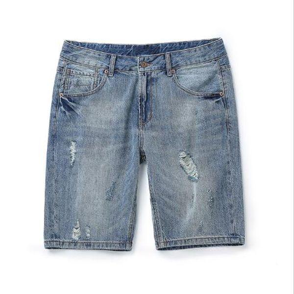 Formato asiatico dei jeans degli shorts afflitti foro di stile casuale di nuova moda di estate degli shorts dei jeans degli uomini trasporto libero
