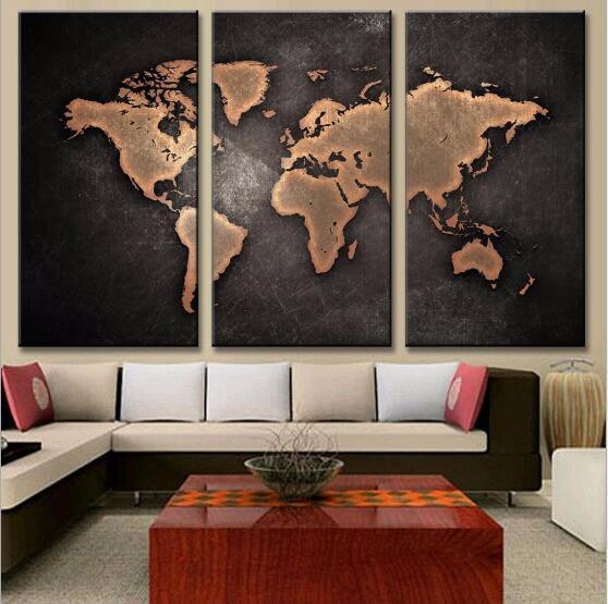 Gemälde HD Abstrakte Leinwand Für Wohnzimmer Wandkunst Poster 3 Stücke Retro Weltkarte Dekoration Bilder Modular Kein Rahmen