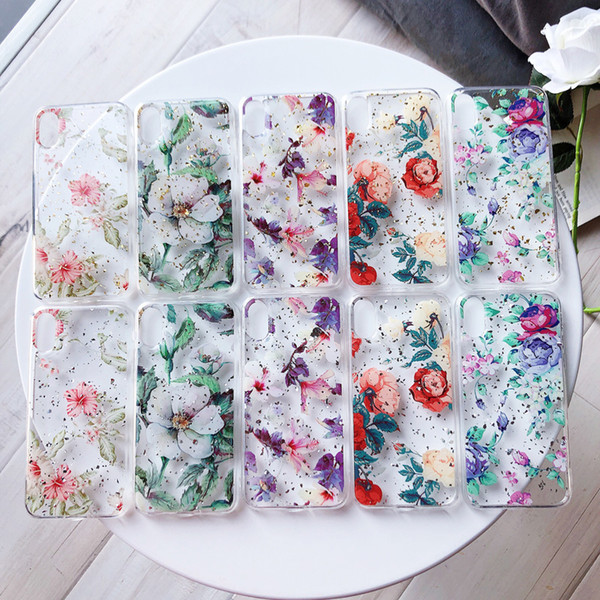Transparent Clear Platinum Epoxy Soft TPU Floral Flower Gold Silver Foil Protective Cover Back Case For iPhone XS MAX XR X 8 7 6 6S Plus