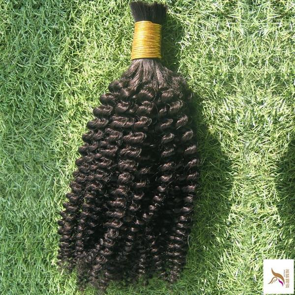 Negro Color de pelo a granel de Mongolia 10-30 pulgadas 100% a granel pelo humano de la trama del trenzado No 1 Pieza de Mongolia rizado rizado del pelo para el trenzado