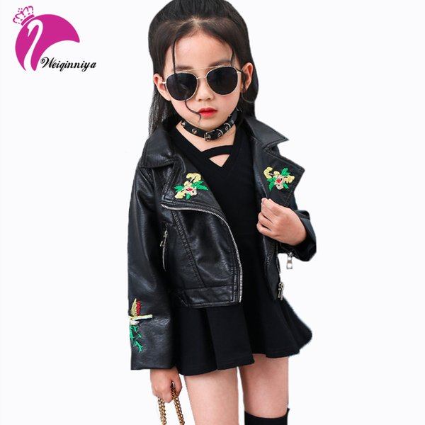 Kids Jacket Girl PU Leather Outwear Clothing Spring Autumn Fashion Turn-down Collar Zipper Coats Baby Child Print Cool Clothes