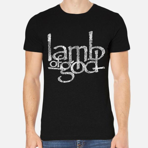 Maglietta di modo unisex delle donne degli uomini del nero dell'abbigliamento di 1-A-157 della maglietta degli uomini del nuovo della roccia degli uomini di agnello del dio che spedice liberamente