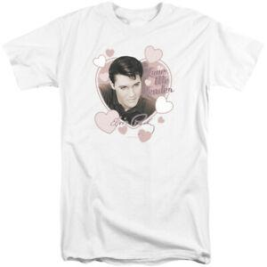 O t-shirt alto de Elvis Presley ama-me T branco macia