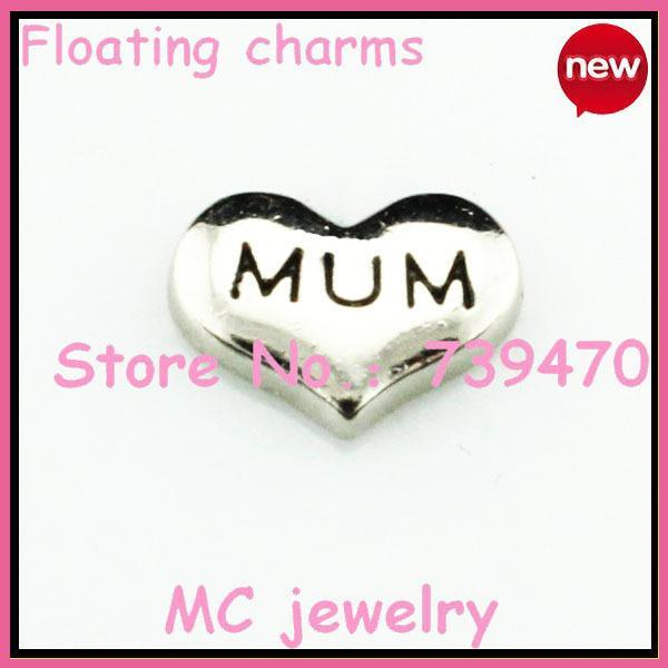 Wholesale-20pcs!!! free shipping Silver fashion floating heart MUM charm for floating glass locket