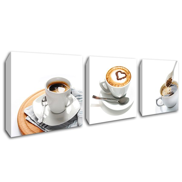 3 Panel Heart Shaped Coffee Wall Art Canvas Painting Framed Coffee Cup Poster Canvas Print Picture for Kitchen Dining Room Decor