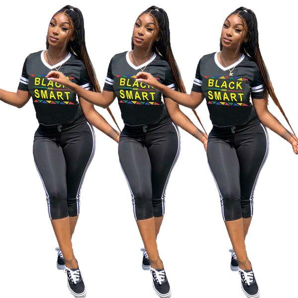 Girls Black Smart Print Short Tracksuit Sexy V Neck T Shirts + Striped Cropped Leggings 2 Piece Summer Yoga Outfit Designer SportwearA429