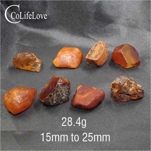 CoLife Gioielli 8 Pezzi 26,4 Gram perline ambra naturale al 100% reale ambra pietra preziosa allentata per Gioielleria