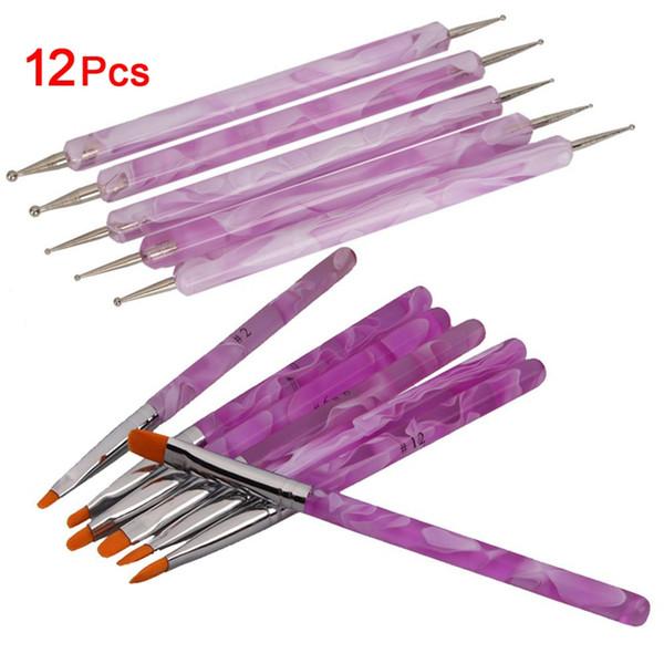 7pcs UV Jel Akrilik Nail Art Resim + 5 x 2 Yollu Marbleizing süsleyen Kalem Seti Fırçalar Detaylandırma