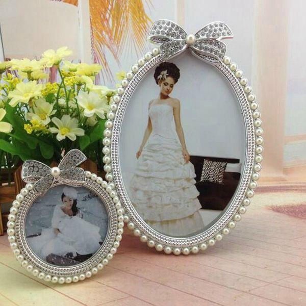 Cadre photo nacrée cristal de diamant bowknot ovale mignon Cadre photo de mariage Home Décor cadeau Nouveau 3 pouces 6 pouces