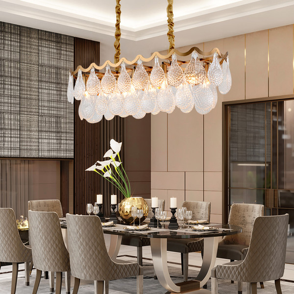 Modern Rectangle Kitchen Island Chandelier Lighting Luxury Dining Living  Room Lamp Led Chandeliers Glass Light Fixtures Clear Glass Pendant Lights  ...