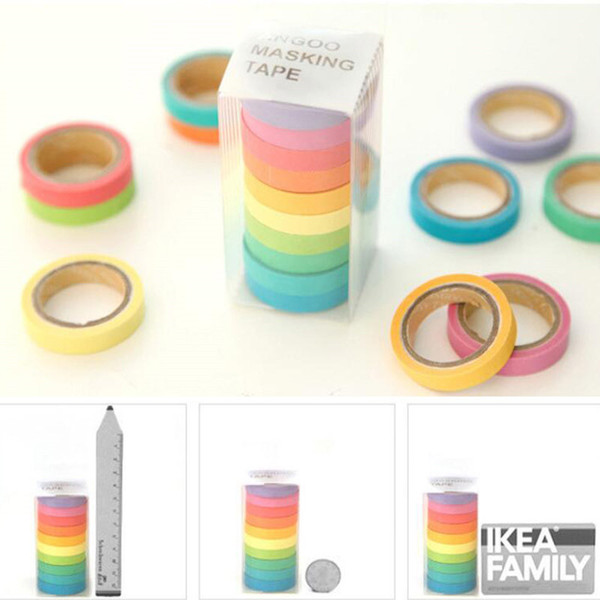 top popular 10 PCS Set Rainbow Solid Color Japanese Masking Washi Tapes Sticky Paper Tape Adhesive Printing DIY Scrapbooking 2016 Decor Washi Tapes 2021