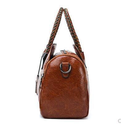 Toposhine Boston Ms. Handbag New Fashion Personality Oil Wax Leather Shoulder Bag Casual Wild Messenger Bag