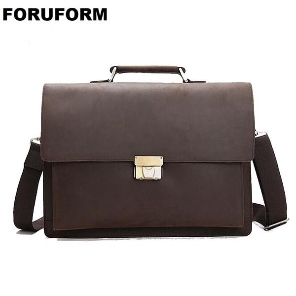 Top Grade Male Men's Vintage Real Crazy Horse Leather Briefcase Messenger Shoulder Portfolio 14'' Laptop Bag Case Handbag LI2033 #208878
