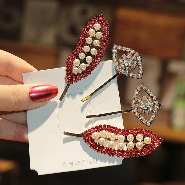 Red Lip forcine cristallo di modo per le clip di donne Vintage capelli della perla strass Occhi Barrettes festa di nozze Bridal Hair Styling