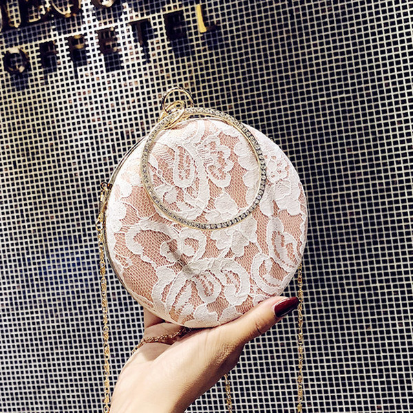 Lady Small Bag Woman 2018 New Lace Embroidery Girls Messenger Handbag Circle Crossbody Purse Chain Fashion Party Shoulder Clutch
