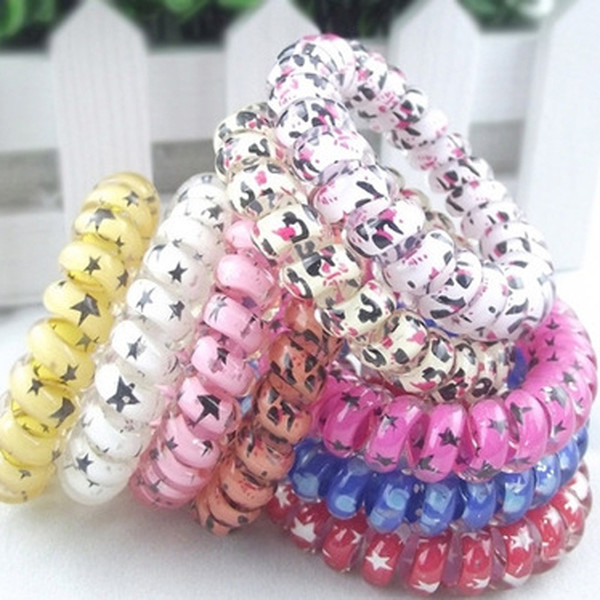 top popular Mix Color Leopard Stars Big Size Hair Rings Telephone Wire Elastics Bobbles Hair Tie Bands Kids Hair Accessories Can Used As Bracelets M698 2020