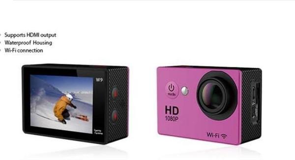Su geçirmez Spor Kamera W9 HD Eylem Kamera Dalış Wifi 1080 P 30 M 2.0