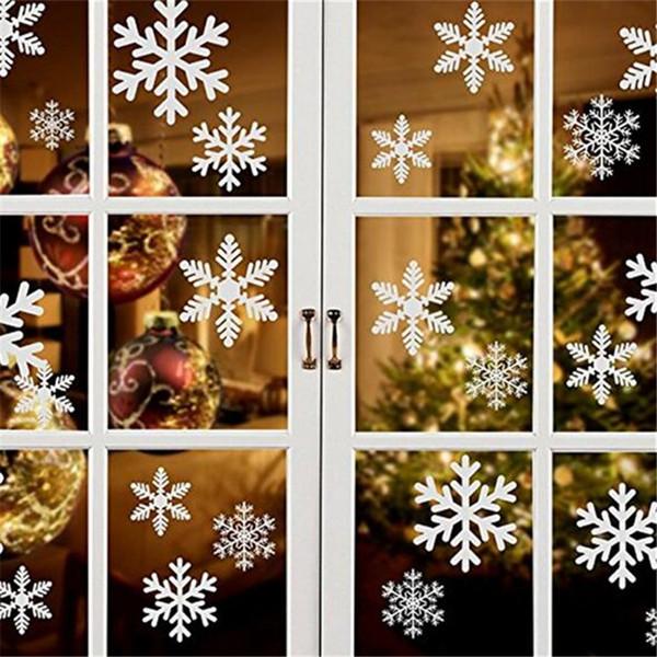 Hot Home Festliche 27 Stücke / blatt Weihnachten Schneeflocke Fensteraufkleber Winter Wandaufkleber Kinderzimmer Dekorationen für Haus Neujahr Aufkleber